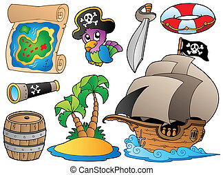 Set of various pirate objects - vector illustration