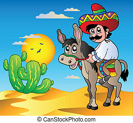 Mexican riding donkey in desert - vector illustration