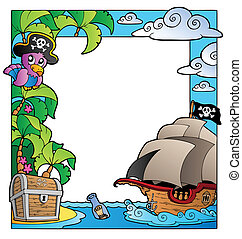 Frame with sea and pirate theme 1 - vector illustration