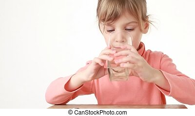 Obedient girl drink water more than she want - Obedient girl...