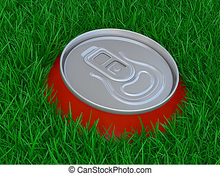 Red can of beer in a grass