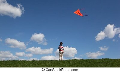 Boy plays with kite in meadow - boy plays with kite in...