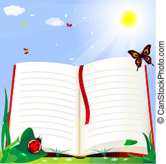 book and natire - against the background of the solar green...