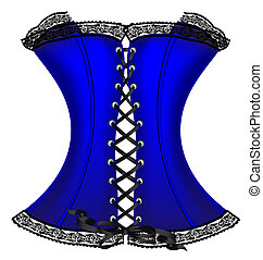 blue corset - on a white background is a big dark-blue...