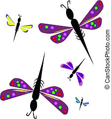 dragonflies - colorful dragonfly's on white concept vector...