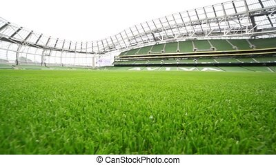 Green lawn of empty stadium Aviva - DUBLIN - JUNE 10: Green...