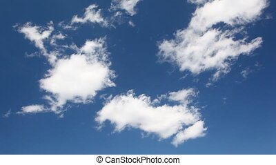 White clouds move on beautiful blue sky
