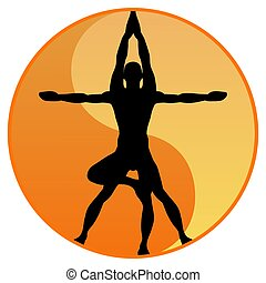 Yoga Balance - Illustration of the black silhouette of a man...