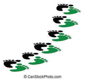 carbon footsteps - foot steps imprints in green and black