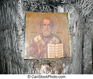 Orthodox icon of St. Nicholas in the cave church