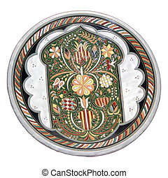plate with the ornament of the Crimean Tatars on a white background