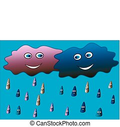 Cloud-boy and cloud-girl, happy rain, Vector illustration