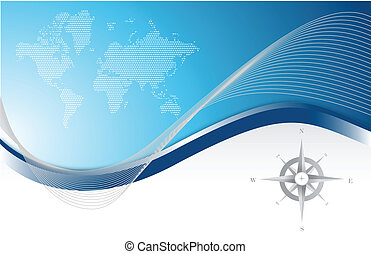 Blue background with map & compass - Blue background with...