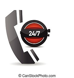 24 hour service - illustration showing a phone icon over a...