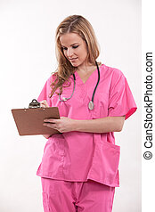 Young attractive adult caucasian woman doctor nurse