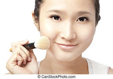 close up of asian  Woman Face and Makeup concept