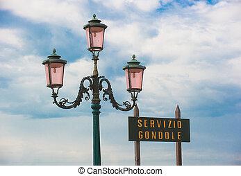 Gondola service sign, Venice, Italy