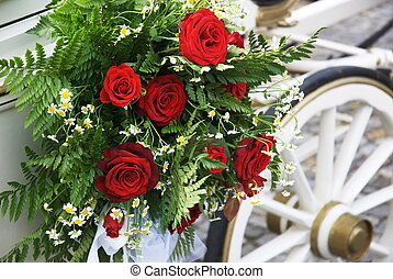 Wedding Carriage With Huge Bouquet On Side - Flowerful...