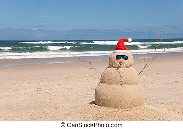 Sandman On Beach With Santa Hat And Sunglasses - Snowman on...