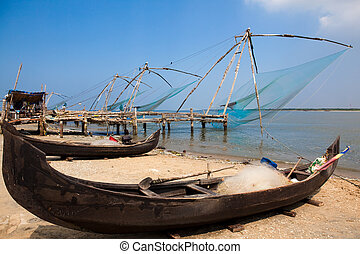 chinese fishing net of cochin in Kerala state india