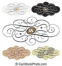 calligraphic swirl set vector - calligraphic swirl set,...