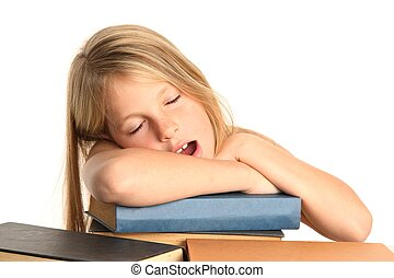 Pretty Tired Kid and Books - Little girl yawning and falling...