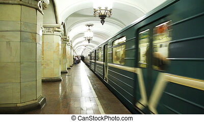 train arrives at Komsomolskaya subway station in Moscow