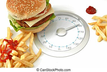 Scales on one side with hamburger and fries with ketchup on...