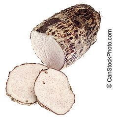 Taro Root Yam Vegetable Isolated on White with a Clipping...