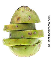 Ripe Prickly Pear Cactaceous Fruit Isolated on White with a...