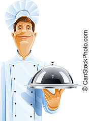 chef cook with tray and lid vector illustration isolated on...