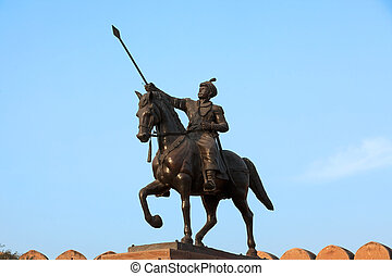 Jganga singh statue junagarh Fort in city of Bikaner...