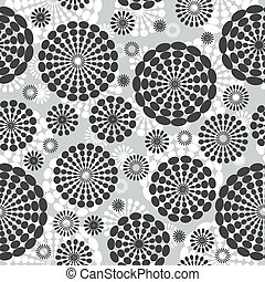 Abstract background with flowers in grey tones