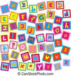 alfabeto, letras, colorido, cartão