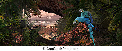Parrots Of The Caribbean - A tropical scene of a island...