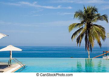 splendid swimming pool in a hotel resort in Kerala state...