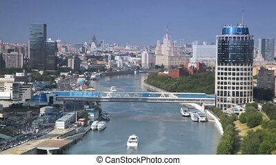 Bagration bridge and Tower 2000 in Moscow International...