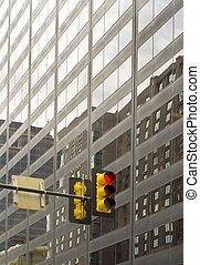 Glass facade with traffic light