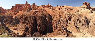 Panoramic view of  castle valley, Charyn canyon