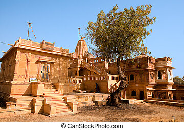 jain temple of amar sagar near jaisalmer in rajasthan state...