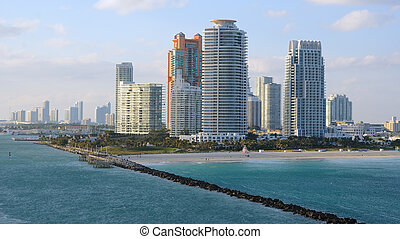 Miami Skyline - Skyline of the city of Miami, Florida along...