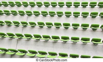 Green seats of the stadium, bright cloudless day