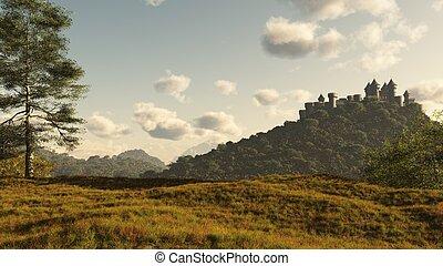 Distant Medieval Castle - Distant Medieval castle on a...