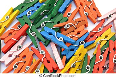Clips of different colors stacked
