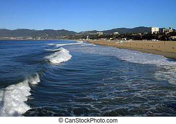 Beautiful Santa Monica Beach and the Pacific Ocean in...