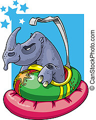 Rhino in bumper car - Don't mess with the wrong guy. Rhino...