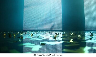 Close-up of illuminated stage - Close-up of empty bright...