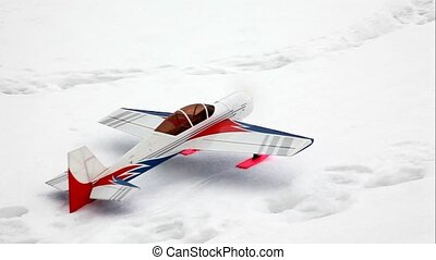 Toy model airplane start flying at sky - Toy model airplane...