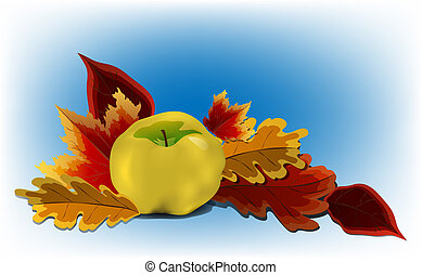 Golden yellow apple surrounded by autumn leaves on blue...