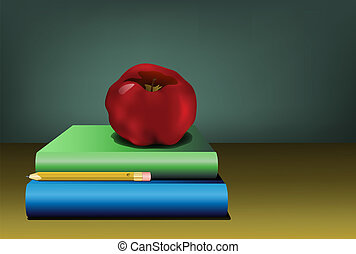 Apple and pencil sitting on a pile of textbooks with a...